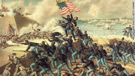 18th July 1863:  The storming of Fort Wagner during the American Civil War, and the death of Colonel Robert Gould Shaw (atop the hill). He led the 54th Massachusetts Volunteer Infantry, the first African-American regiment in the US Army.  (Photo by MPI/Getty Images)