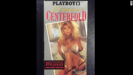 The VHS cover for a Playboy video that briefly features Donald trump.