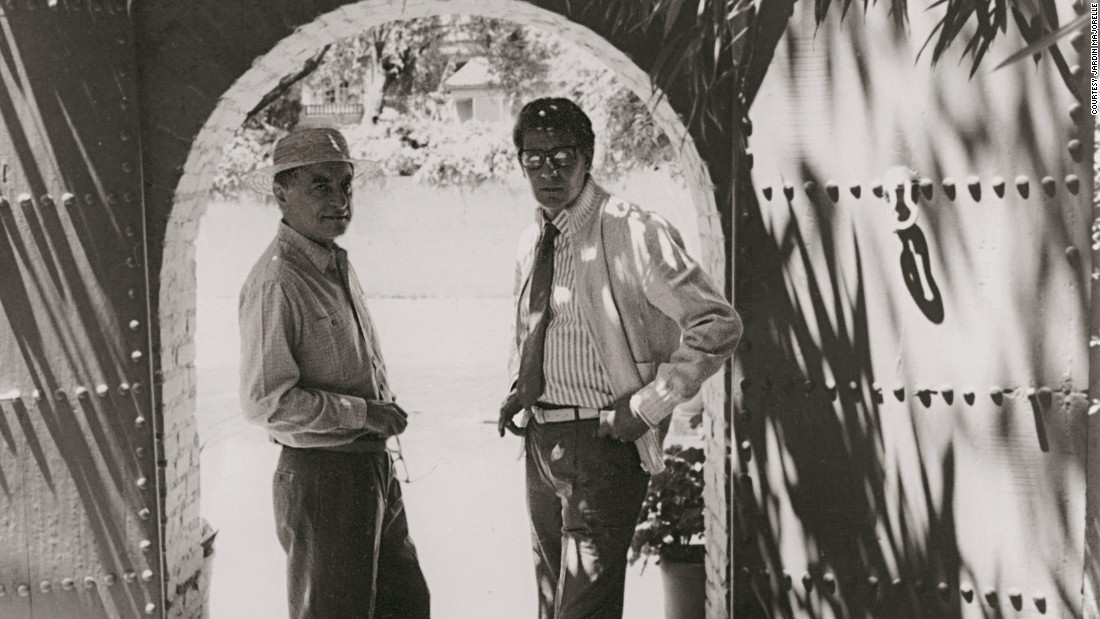 "Pierre Berge and Yves Saint Laurent in Marrakech. ""Yves Saint Laurent and I discovered Marrakech in 1966, and we never left,"" says Berge. ""This city deeply influenced Saint Laurent's life and work, particularly his discovery of color."""