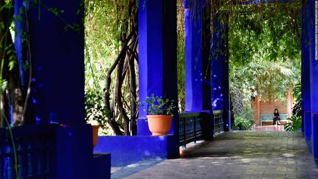 "Majorelle lays claim to a brilliant cobalt blue -- ""Majorelle blue"" -- which binds together the 110,000 square feet garden. It's a color that has spread far and wide throughout Marrakech, with homage paid on everything from street signs to plant pots."