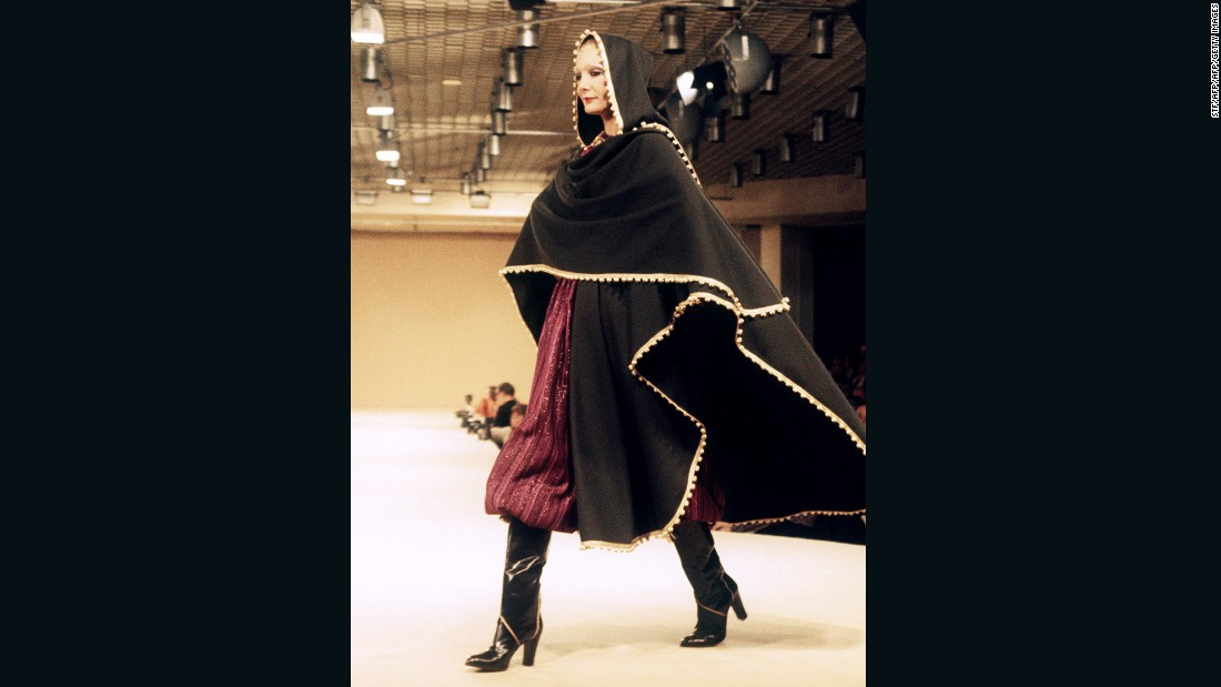 Capes inspired by the <em>burnous</em> were also a staple of Yves Saint Laurent shows, such as this from the A/W 1977-78 ready-to-wear collection.