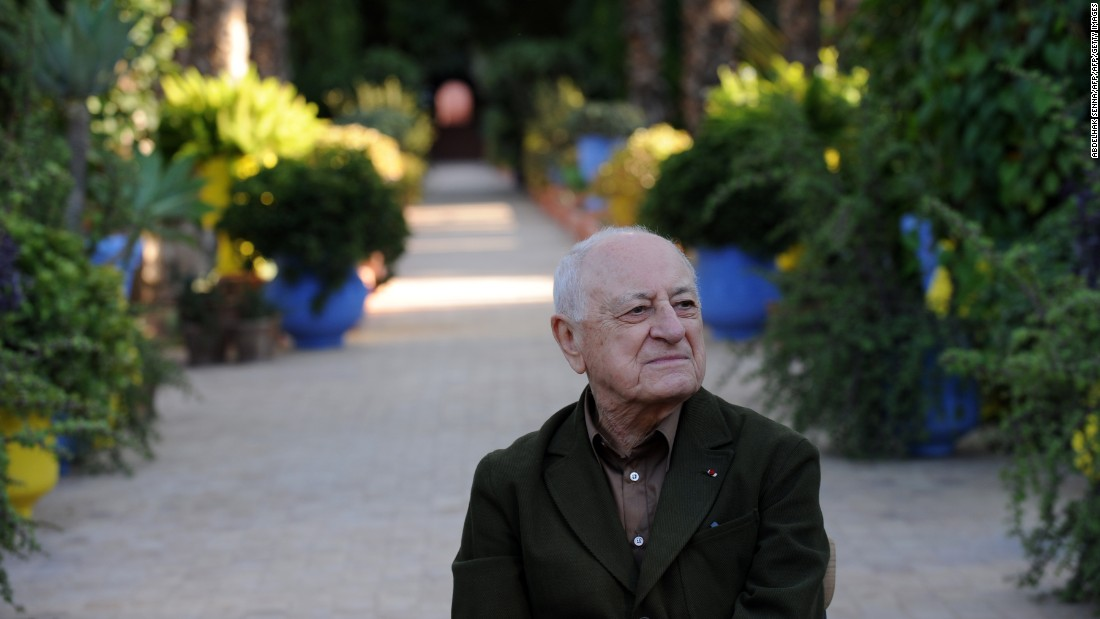 Pierre Berge, Saint Laurent's partner in business, and one time in love, in the Jardin Majorelle. The garden now belongs to their joint foundation. Its profit's have financed the upcoming museum, but also philanthropic projects across the country, including the Philharmonic Orchestra in Rabat, an arthouse cinema in Tangier, AIDS charities and educational causes, says Fierro.