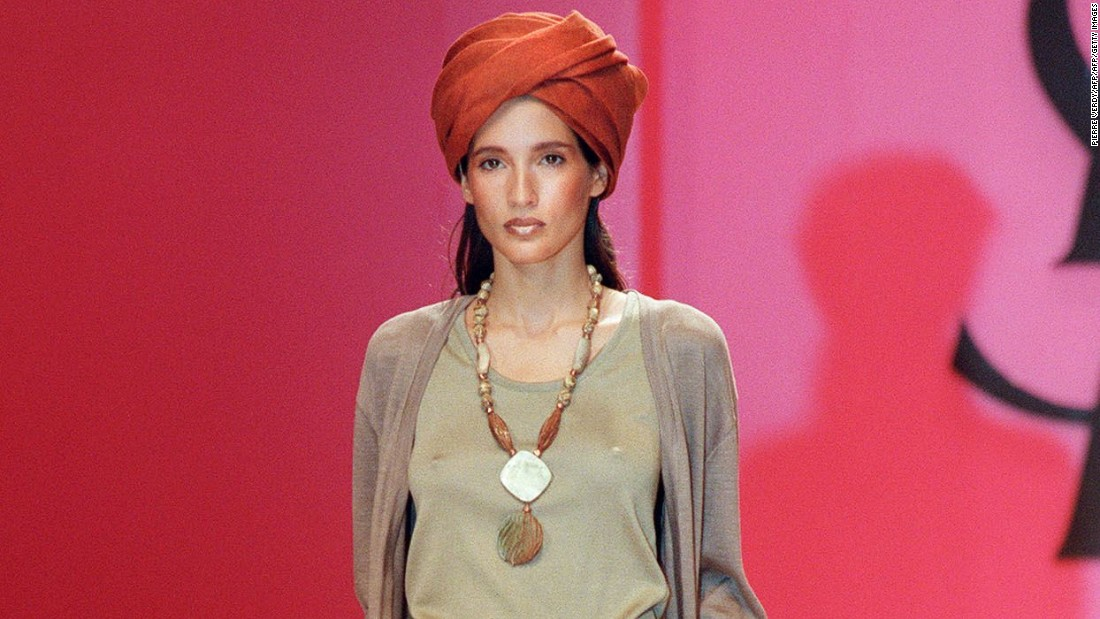 Headwear riffing on the <em>shesh</em> (the Taureg turban) featured on Yves Saint Lauren catwalks, along with jewelry inspired by Berber culture.