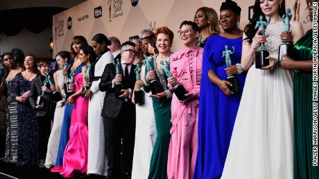 LOS ANGELES, CA - JANUARY 30:  The Cast of Orange is the New Black, winners of Outstanding Performance By An Ensemble in a Comedy Series, pose in the press room during the 22nd Annual Screen Actors Guild Awards at The Shrine Auditorium on January 30, 2016 in Los Angeles, California.  (Photo by Frazer Harrison/Getty Images)