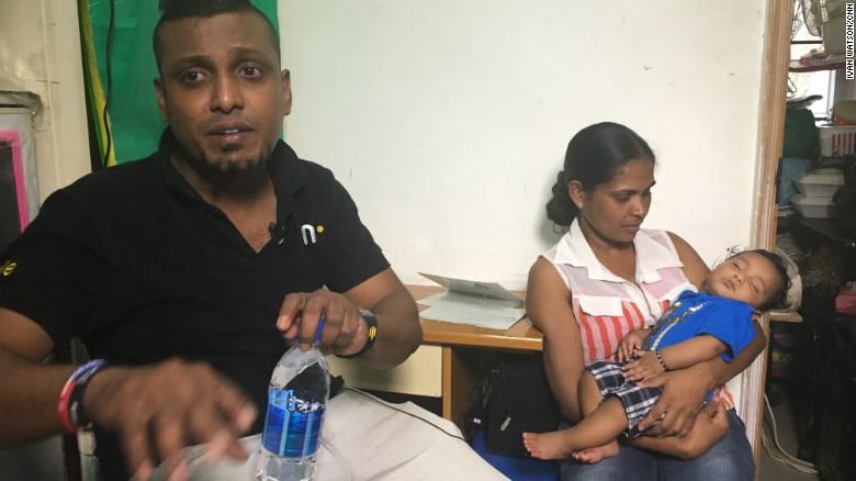 Supun Kellapatha, an asylum-seeker from Sri Lanka, photographed with his wife Nadeeka Nonis and their son Dinath.