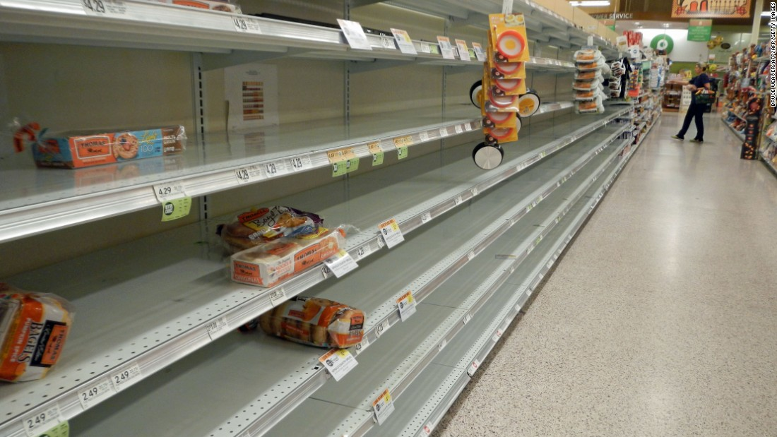 A supermarket shelf is nearly cleared out in Titusville, Florida, on Wednesday, October 5.