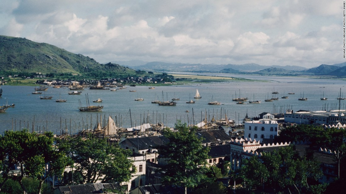 The coastline of Macau, in the mid-1960s.