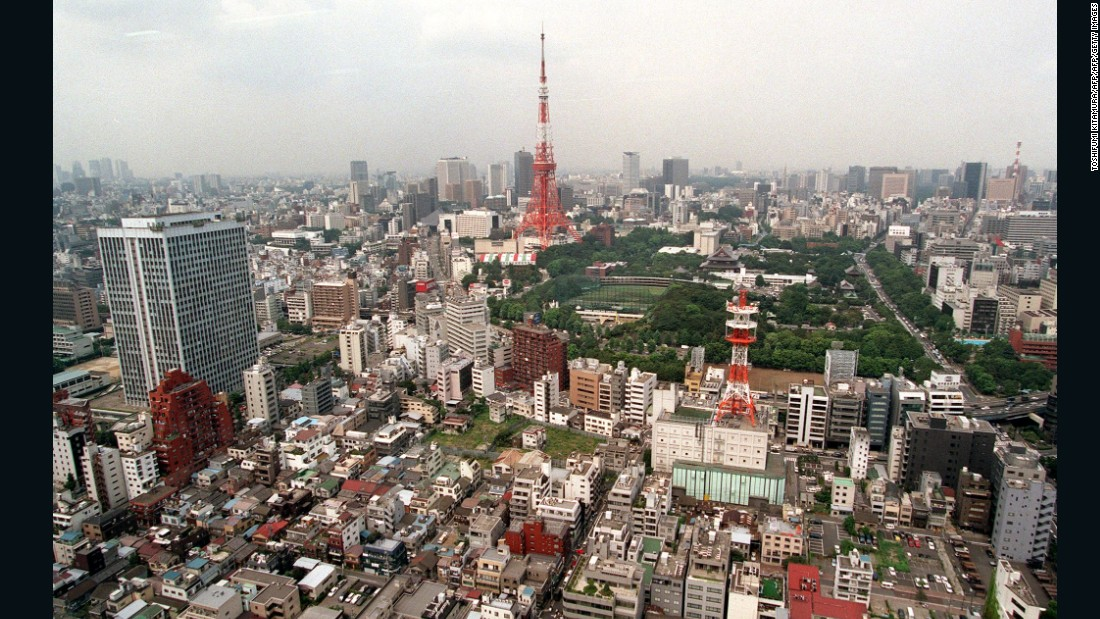 This scene shows the skyline of downtown Tokyo, including the Tokyo Tower, on 30 August 1995.