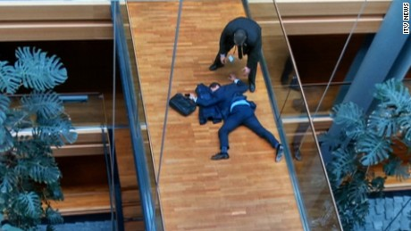 "UKIP MEP Steven Woolfe is shown collapsed in the European Parliament after an ""altercation."""