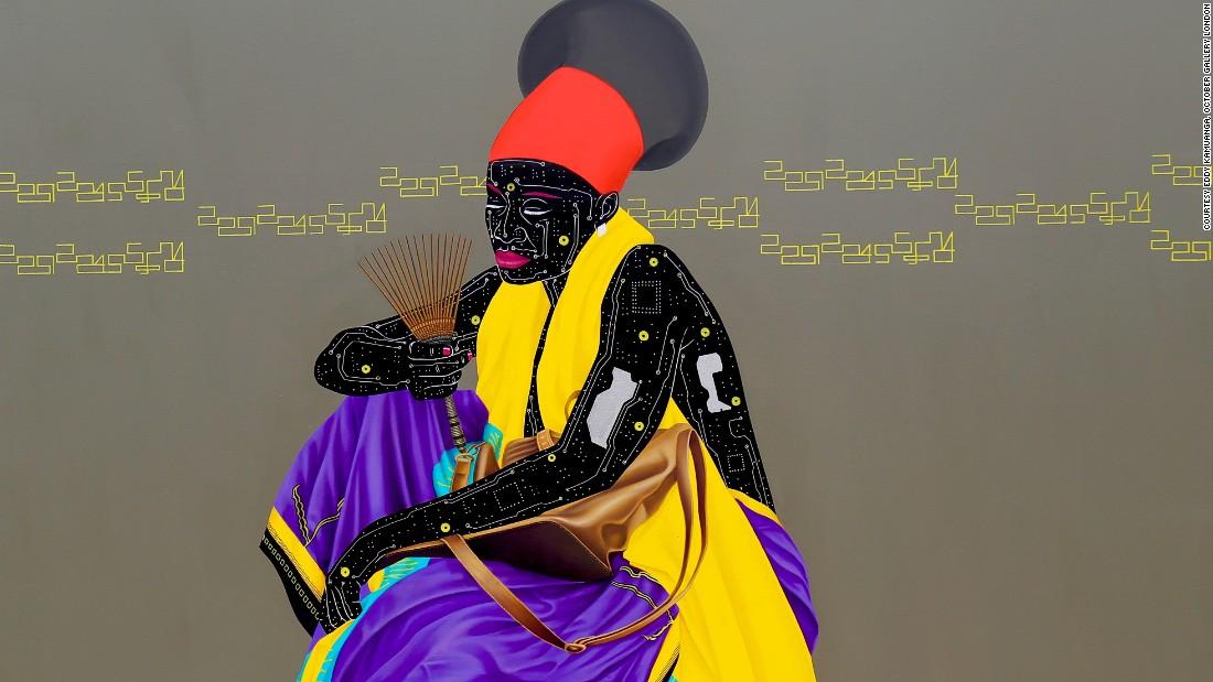 Kinshasa born Kamuanga Ilunga, wants his circuit board images to reflect the Democratic Republic of Congo's rapid modernization.