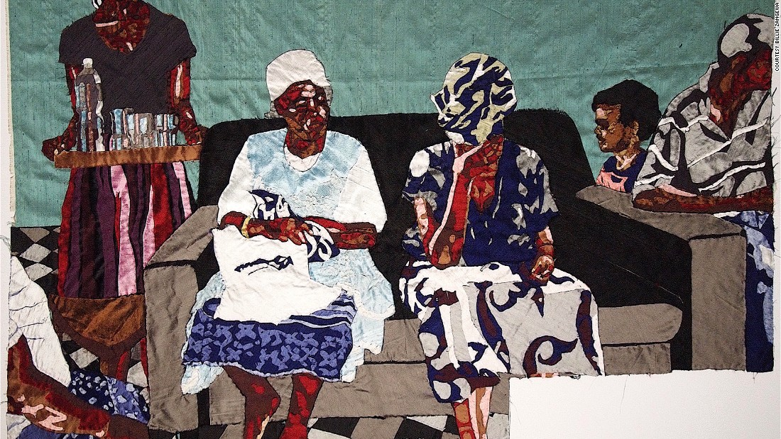 Malawian-born artist based in Johannesburg, South Africa, Billie Zangewa, celebrates powerful females through her delicate silk tapestries, collages and cotton embroidery pieces.