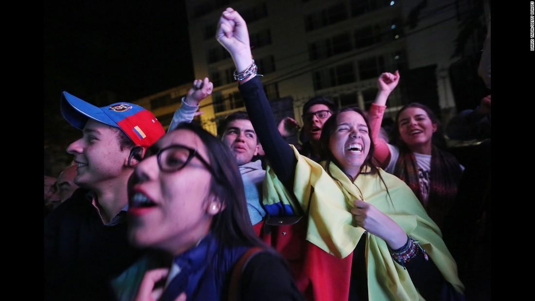 "People in Bogota, Colombia, celebrate Sunday, October 2, after voters <a href=""http://www.cnn.com/2016/10/02/americas/colombia-farc-peace-deal-vote/index.html"" target=""_blank"">narrowly rejected a peace deal</a> between the government and FARC rebels. The two sides have been fighting for 52 years."