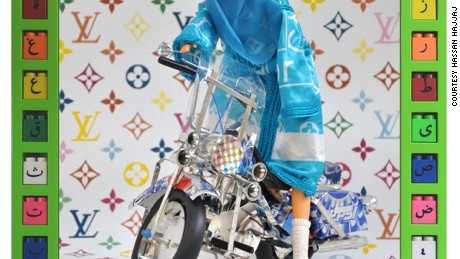 Pepsi Rider by British Moroccan artist Hassan Hajjaj represented at 1:54 Contemporary African Art Fair by Galerie d'art L'Atelier 21.