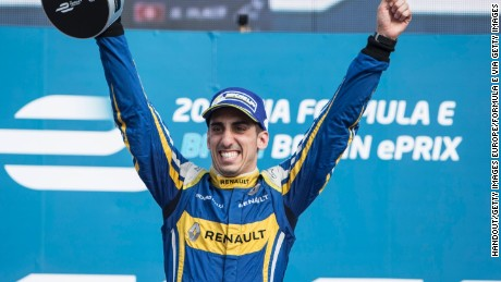 Renault e.Dams driver Sebastien Buemi savors the moment of victory at last season's Berlin ePrix.