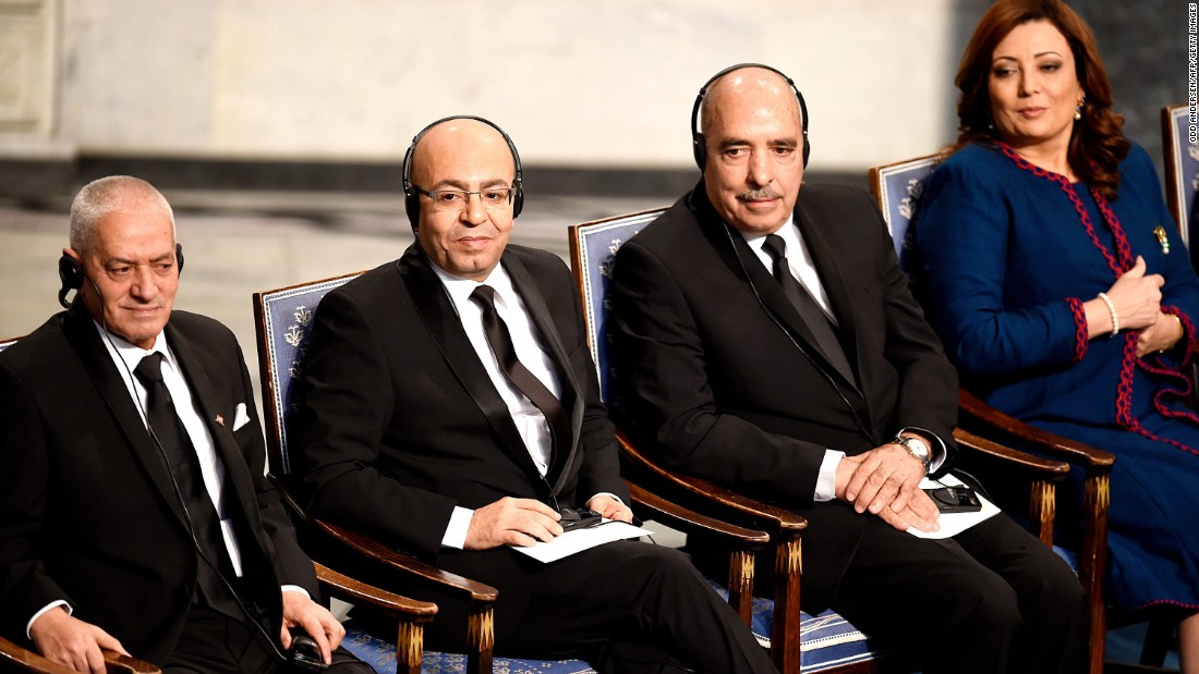"The 2015 Nobel Peace Prize was awarded to the Tunisian National Dialogue Quartet for its ""decisive contribution to the building of a pluralistic democracy in the country in the wake of the Jasmine Revolution of 2011."" From left to right: the Secretary General of the Tunisian General Labour Union Houcine Abbassi, the President of the National Order of Tunisian Lawyers Fadhel Mahfoudh, the Tunisian Human Rights League Abdessatar Ben Moussa and the President of the Tunisian employers union Wided Bouchamaoui."
