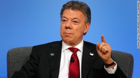 LONDON, ENGLAND - MAY 12: Colombia President Juan Manuel Santos speaks on the podium during a panel discussion at the international anti-corruption summit on May 12, 2016 in London, England. Leaders from many of the worlds nations are gathering in London for the summit, which is aimed at stepping up action to tackle the problem of corruption.  (Photo by Frank Augstein/WPA Pool/Getty Images)