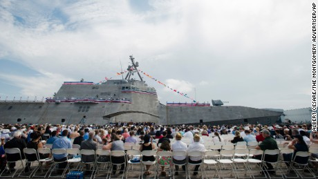 A crowd looks on during the Commissioning of the USS Montgomery in Mobile, Alabama on September 10.