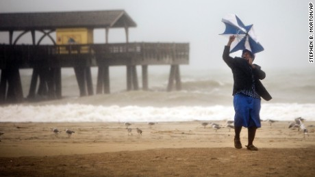 Hurricane Matthew makes its way up the East Coast, on Tybee Island, Georgia.