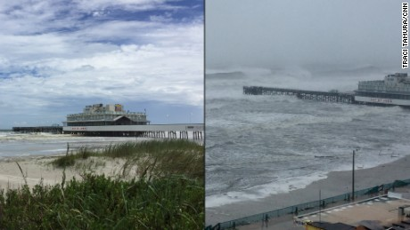 The pier on Daytona Beach before and after the storm.