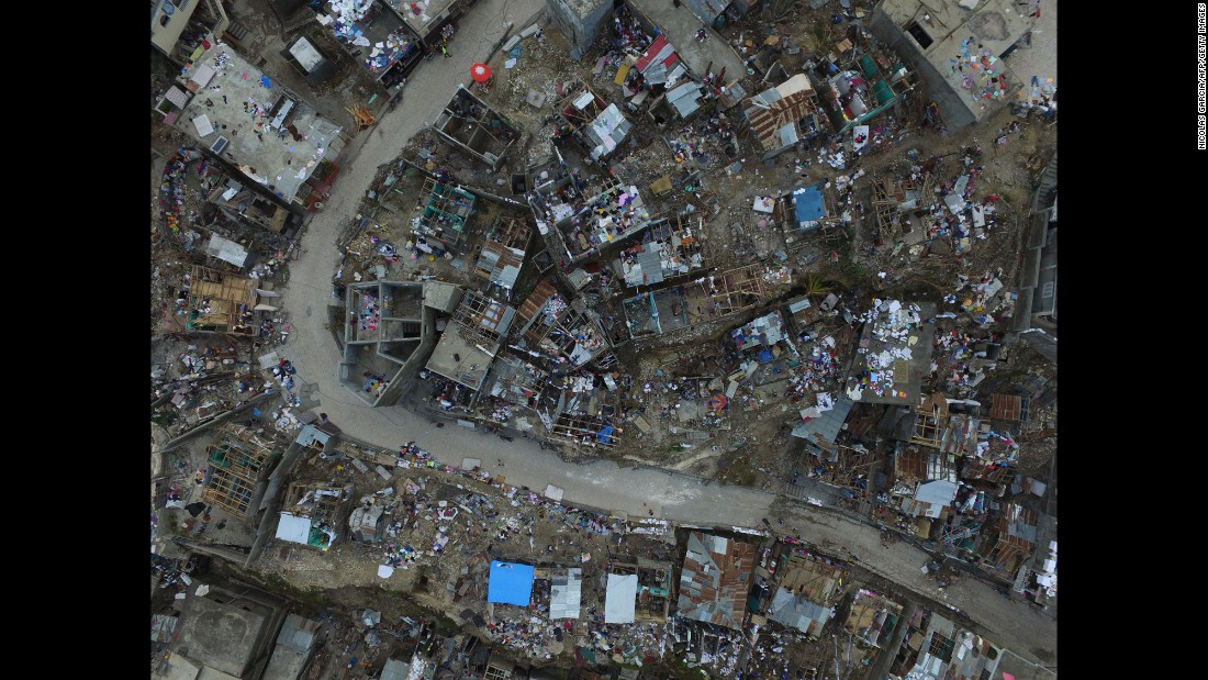 "An aerial view shows destruction caused by Hurricane Matthew in Jeremie, Haiti, on Friday, October 7. <a href=""http://www.cnn.com/2016/10/04/americas/hurricane-matthew/index.html"" target=""_blank"">The damage from Hurricane Matthew</a> was especially brutal in southern Haiti, where sustained winds of 130 mph punished the country."