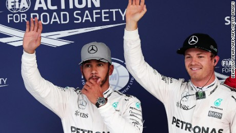 Lewis Hamilton (left) trails Nico Rosberg by 23 points with five races remaining.