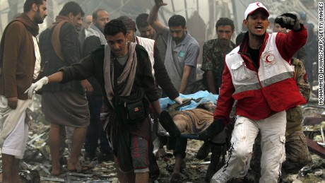 Scores killed in airstrikes on Yemen funeral