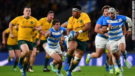 "Australia beat ""home"" team Argentina in a historic Rugby Championship clash at Twickenham."