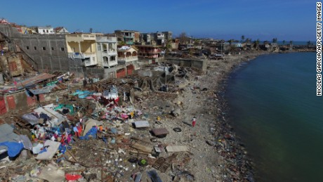 Aerial view of damages in small village of Casanette near Baumond, Haiti on October 8, 2016 after Hurricane Matthew passed the area.   The full scale of the devastation in hurricane-hit rural Haiti became clear as the death toll surged over 400, three days after Hurricane Matthew leveled huge swaths of the country's south. / AFP / Nicolas GARCIA        (Photo credit should read NICOLAS GARCIA/AFP/Getty Images)