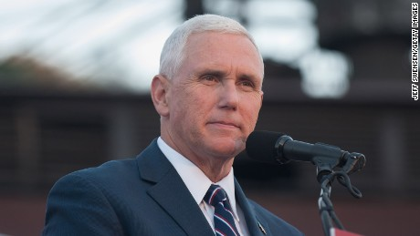 Republican candidate for Vice President Mike Pence speaks to close to 250 supporters at a rally at JWF Industries in Johnstown, Pennsylvania on October 6, 2016.