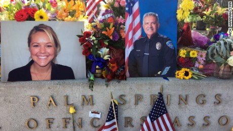A memorial outside Palm Springs Police Department for Officers Jose Gilbert Vega and Lesley Zerebny