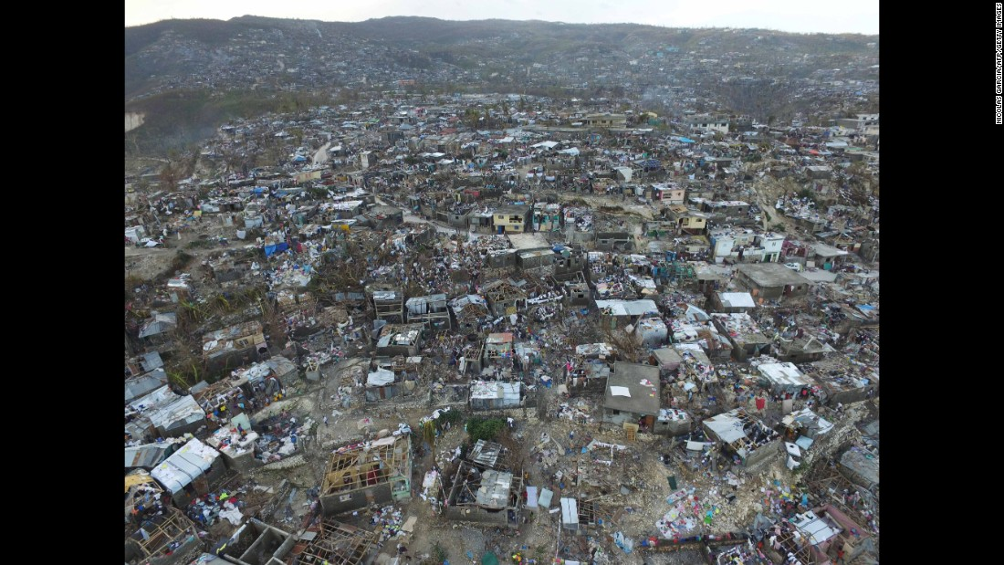 An aerial view of the destruction in Jeremie, Haiti, caused by Hurricane Matthew on October 7.