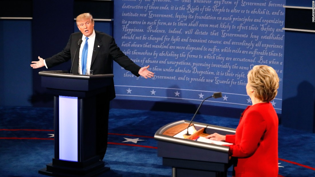 "Trump faces Democratic nominee Hillary Clinton in <a href=""http://www.cnn.com/2016/09/26/politics/gallery/first-presidential-debate/index.html"" target=""_blank"">the first presidential debate, </a>which took place in Hempstead, New York, in September."