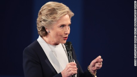ST LOUIS, MO - OCTOBER 09:  Democratic presidential nominee former Secretary of State Hillary Clinton respond to questions during the town hall debate at Washington University on October 9, 2016 in St Louis, Missouri. This is the second of three presidential debates scheduled prior to the November 8th election.  (Photo by Scott Olson/Getty Images)