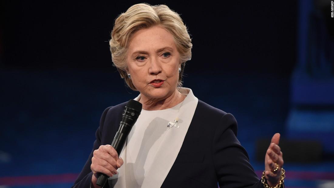 Clinton speaks during the debate.