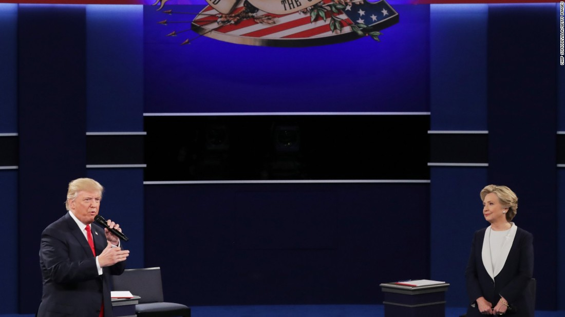 Trump answers a question during the debate.