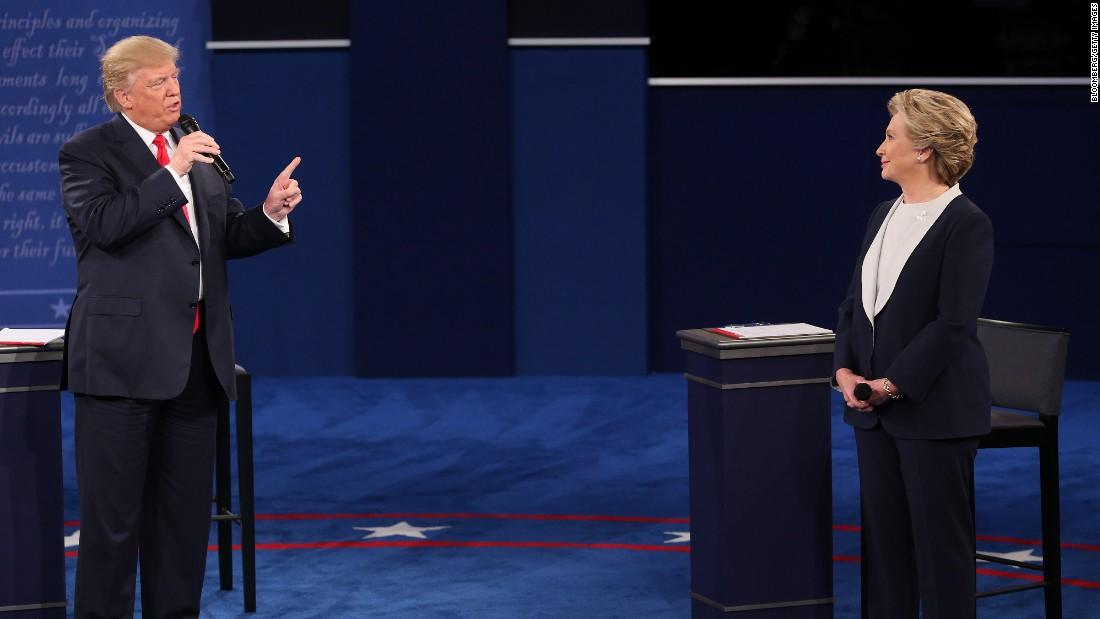 Trump addresses remarks toward Clinton.