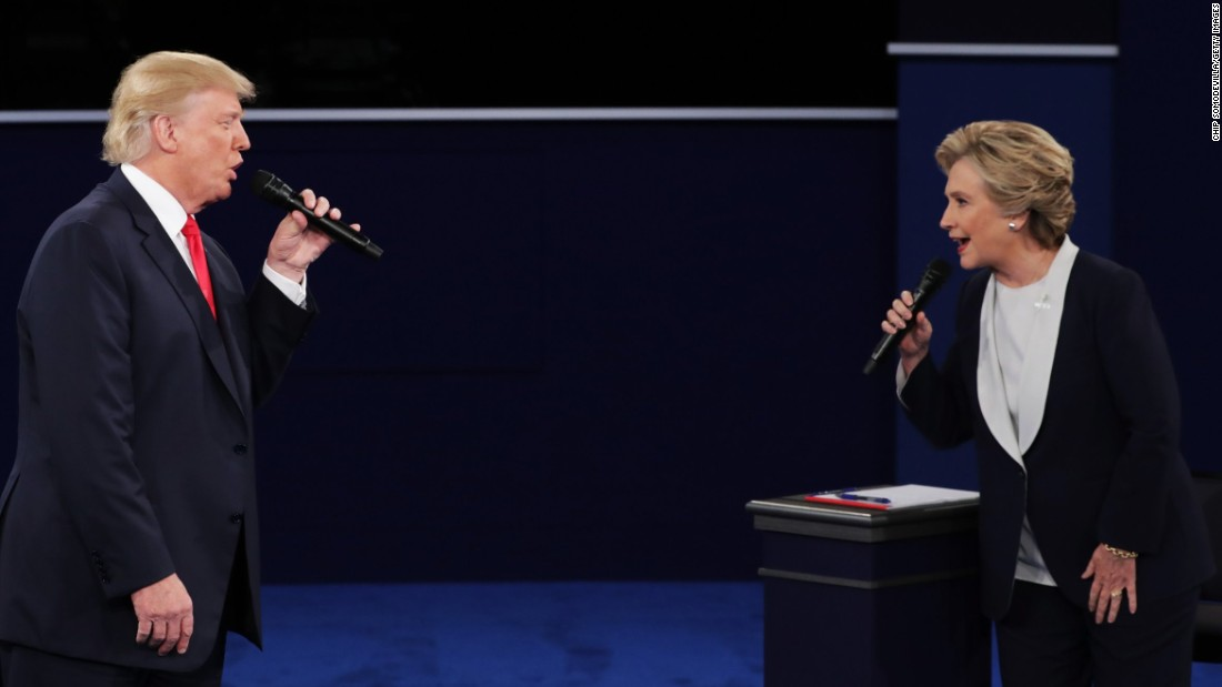 Republican nominee Donald Trump faces off with Democratic nominee Hillary Clinton during the second presidential debate