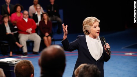 ST LOUIS, MO - OCTOBER 09:  Democratic presidential nominee former Secretary of State Hillary Clinton responds to a question during the town hall debate at Washington University on October 9, 2016 in St Louis, Missouri. This is the second of three presidential debates scheduled prior to the November 8th election.  (Photo by Rick Wilking-Pool/Getty Images)