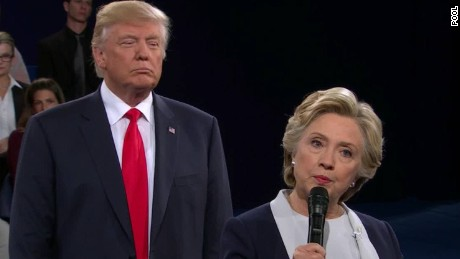 Donald Trump and Hillary Cliinton during the debate