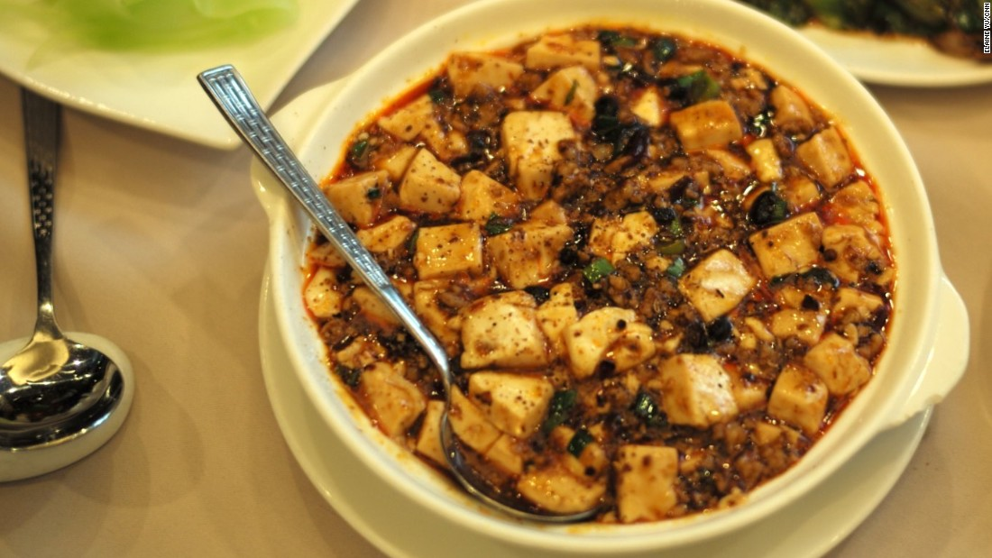 If you ever thought tofu was boring, mapo tofu will make you think again. It's a delicious concoction of tender tofu, minced beef or pork, Sichuan chili bean sauce and ground Sichuan pepper.