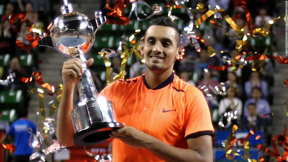 Kyrgios beat Belgium's David Goffin in the final, hitting 25 aces. He moved to a career-high 14th in the rankings and boosted his chances of qualifying for the ATP year-end finals.
