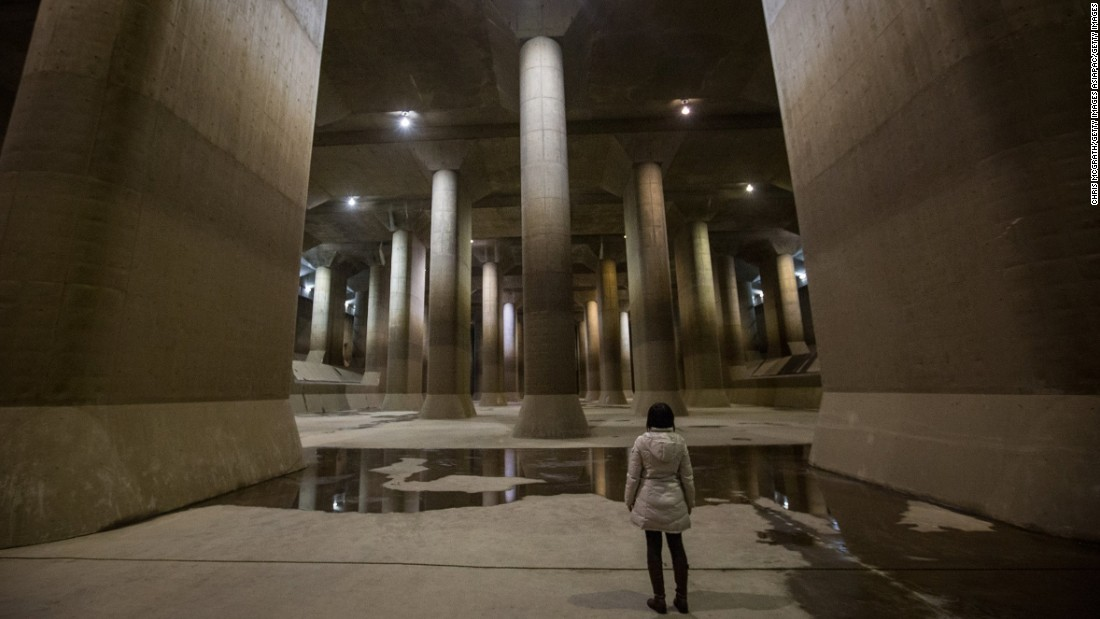 Constructed 72 feet below ground, the gigantic pressure-adjusting water tank in Tokyo looks like a concrete cathedral. 580 feet long, 256 feet wide, 59 feet high and featuring 59 pillars weighing 500 tons each, the facility took 13 years to build. Designed to take water overflow from four rivers, redirect it underground into a 4 mile tunnel before pumping it out into the Edo River, the channel is used an average of seven times a year, when heavy storms and typhoons hit the metropolitan area. When it's not preventing Tokyo from flooding, there's tours three times a day.