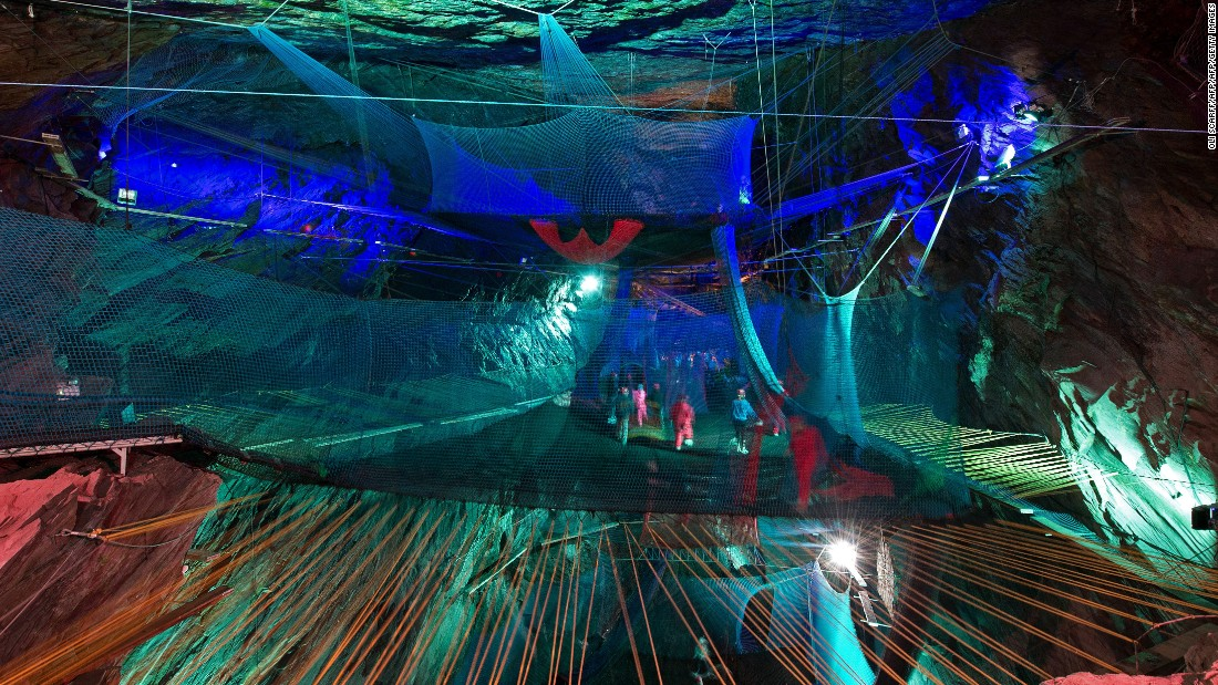 A 176-year-old disused slate mine near Blaenau Ffestiniog, North Wales became a subterranean playground in 2015 when Bounce Below opened. The $920,000 investment installed a giant, multi-tiered trampoline network suspended in a cavern the size of a cathedral. Despite the soft landing, hard hats are still required.