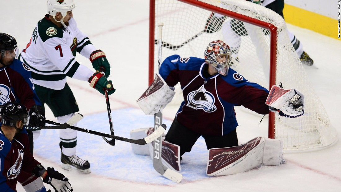 Colorado goalie Semyon Varlamov makes a save during an NHL preseason game in Denver on Tuesday, October 4.