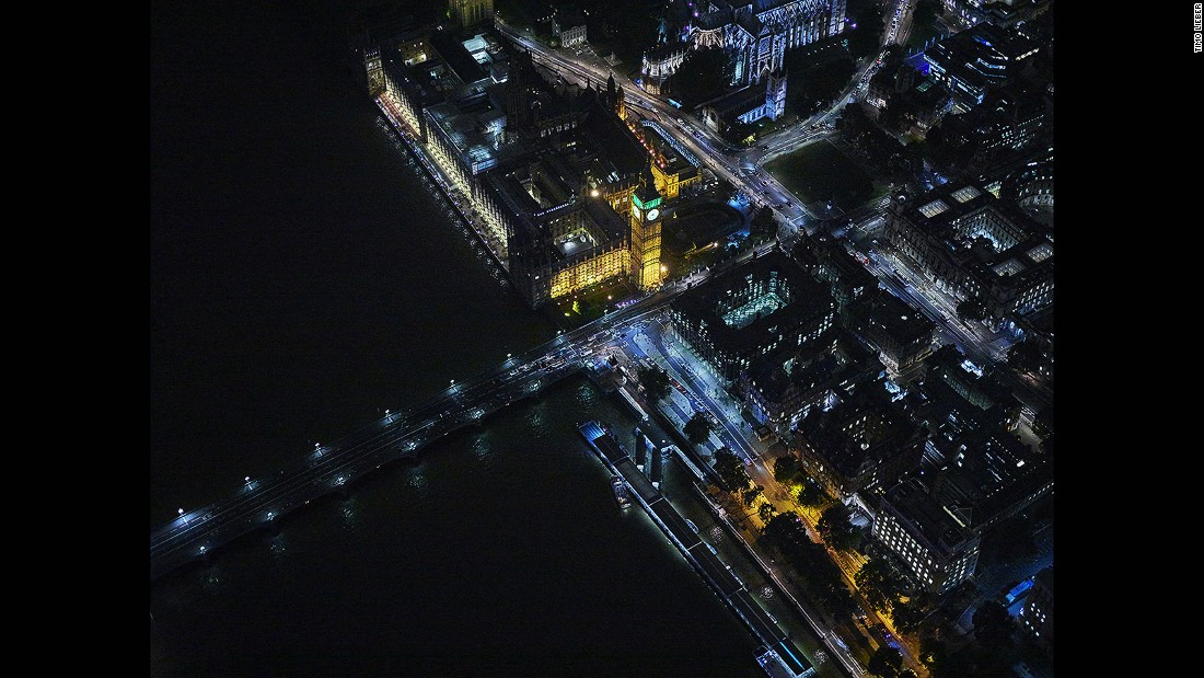 German-born, London-based artist and photographer Timo Lieber specializes in dramatic aerial photography such as this nighttime shot of London's Houses of Parliament.