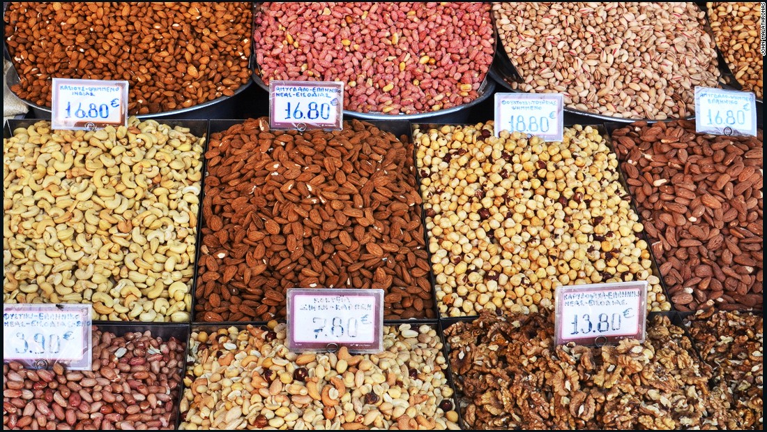 Stubby hazelnuts, pistachios in their shells, roasted peanuts, salted almonds, chopped walnuts -- nuts of all persuasions are a traditional part of the Greek diet.