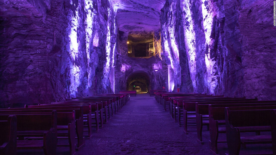 "Originally carved inside an active salt mine, the Salt Cathedral of Zipaquira sits 660 feet underground in Cundinamarca, Colombia. In 1950, work began on a space for workers to pray before starting their shift, with the site inaugurated in 1954, dedicated to Our Lady of Rosary, patron saint of miners (of course). A popular tourist site 28 miles north of Bogota, in 2014 the Gallery Nueveochenta took over the space, using it to house contemporary art by the likes of <a href=""https://www.flickr.com/photos/aldochaparro/14476001276/in/photostream/"" target=""_blank"">Aldo Chaparro Winder</a>. (Picture via <a href=""https://creativecommons.org/licenses/by/2.0/."" target=""_blank"">Creative Commons 2.0</a>)"