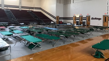 The shelter is mostly empty now, but dedicated county workers and volunteers remain to help.