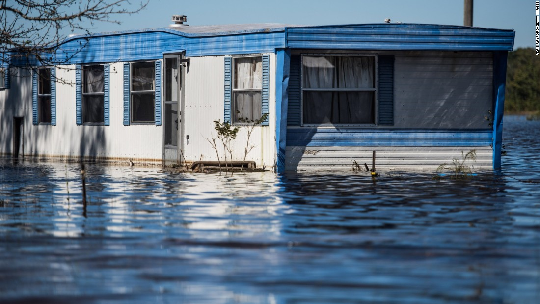 Floodwaters inundate a home in Lumberton on October 10.