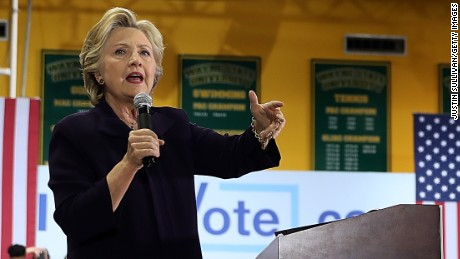 DETROIT, MI - OCTOBER 10:  Democratic presidential nominee former Secretary of State Hillary Clinton speaks during a campaign rally at Wayne State University on October 10, 2016 in Detroit, Michigan. A day after the second presidential debate in St. Louis, Hillary Clinton is campaigning in Michigan and Ohio.  (Photo by Justin Sullivan/Getty Images)